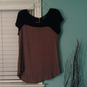 Black and Brown Swing Shirt with Zipper